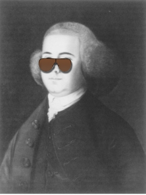 Happy camper. John Adams was never without a trusty pair of sunglasses. (Wiki Commons)